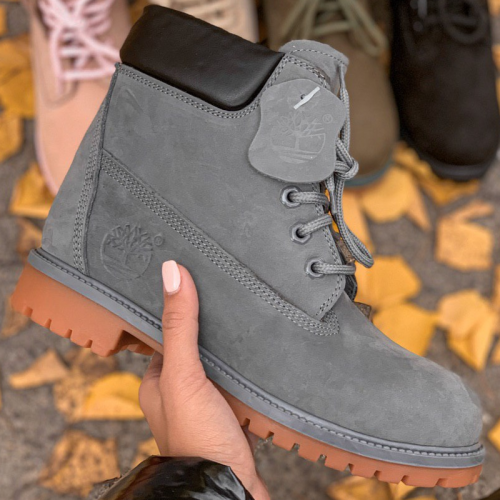 Timberland 6-Inch Nude Grey Fur Boots