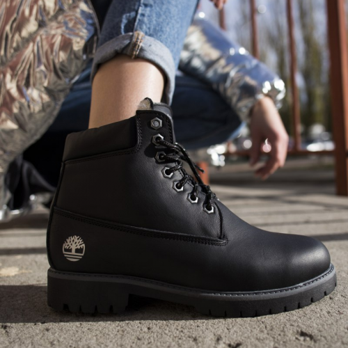 Timberland 6-Inch Black Boots White Logo