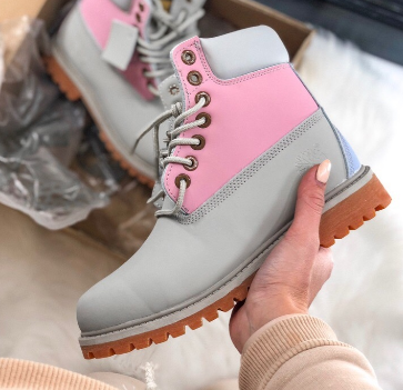 Timberland Custom 6-Inch Premium Gray Pink Boots (7051-1)