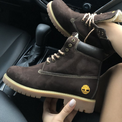 Timberland 6-Inch Brown Boots Yellow Logo