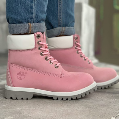 Timberland 6-Inch Pink Boots White Pad and Cant